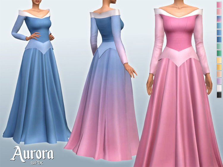 Aurora Dress for The Sims 4