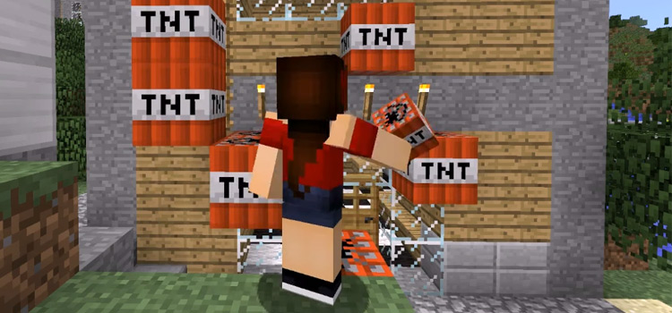 Tomboy Girl Character Getting TNT in Minecraft