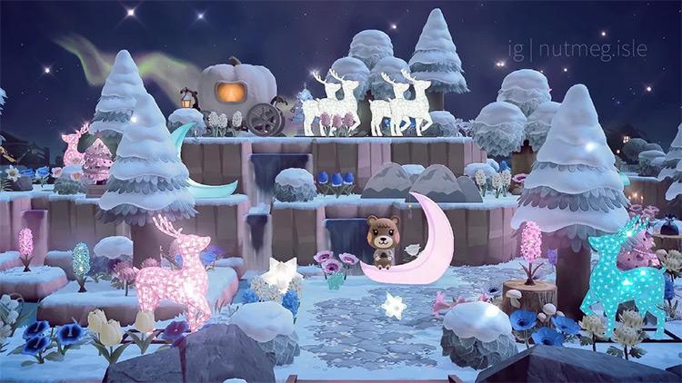Nighttime winter wonderland area in ACNH
