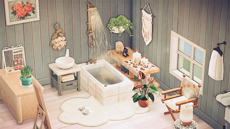 Easy & clean bathroom interior / ACNH Idea