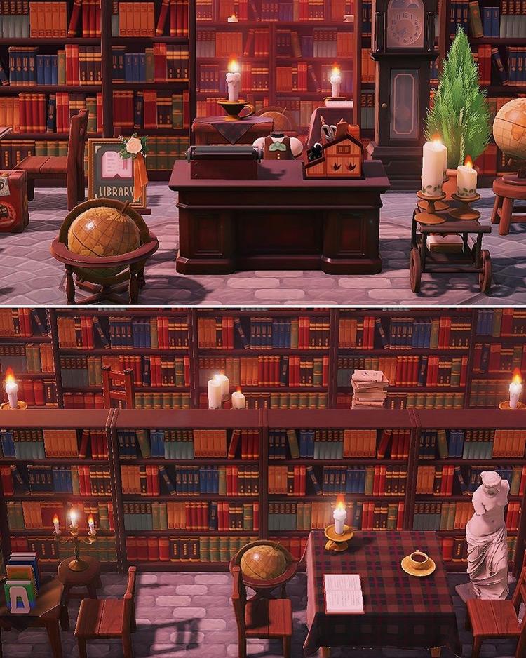 Big cozy library build in ACNH