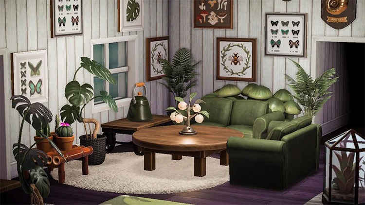 Comfy green living room with framed butterfly theme / ACNH