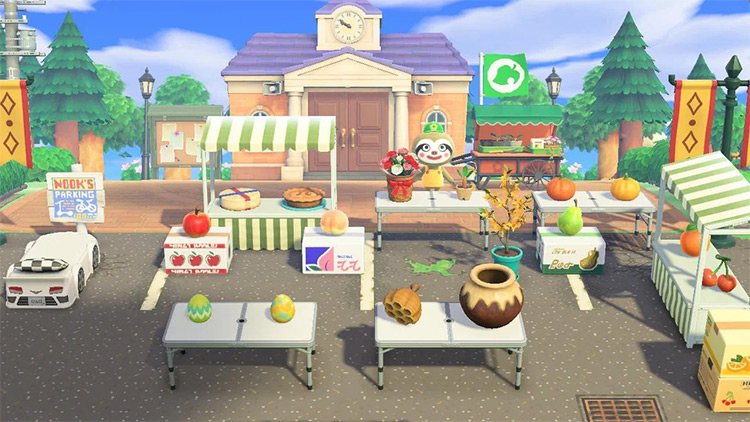 Farmers market with stands in ACNH
