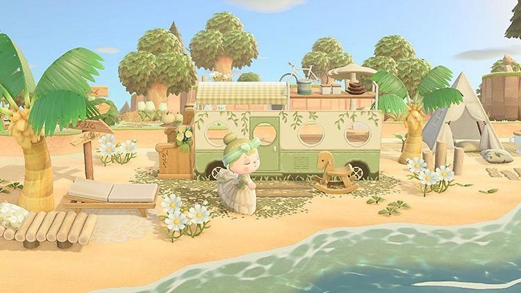Seaside camper van area in ACNH