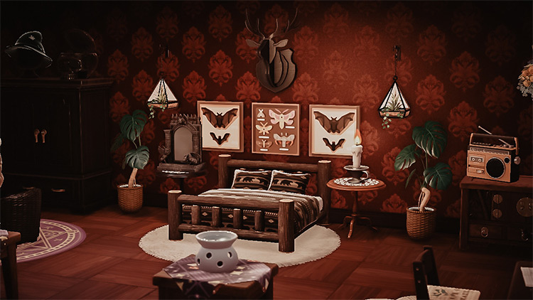 Gothic themed bedroom in ACNH