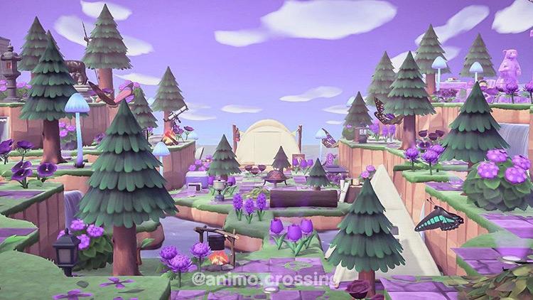 Indigo and bright purple campsite idea for ACNH