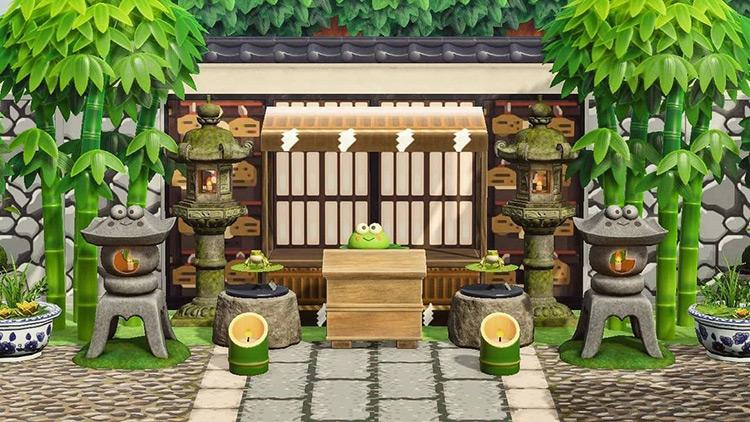 Japanese style frog shrine in ACNH