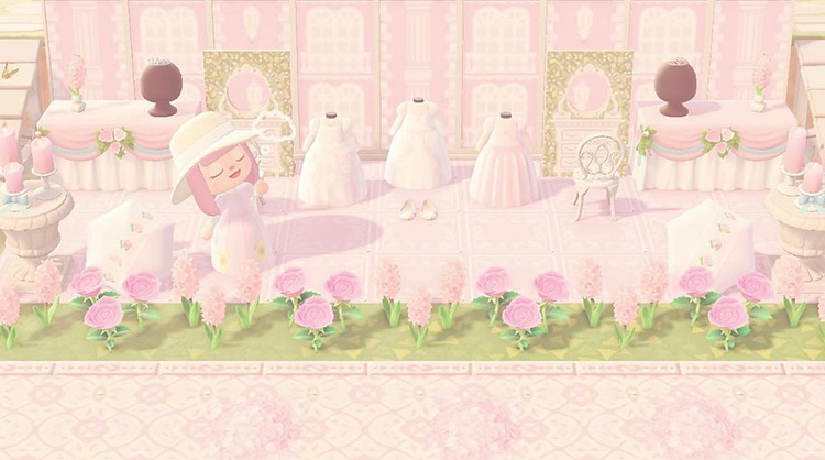Pink dress and gown shop in ACNH