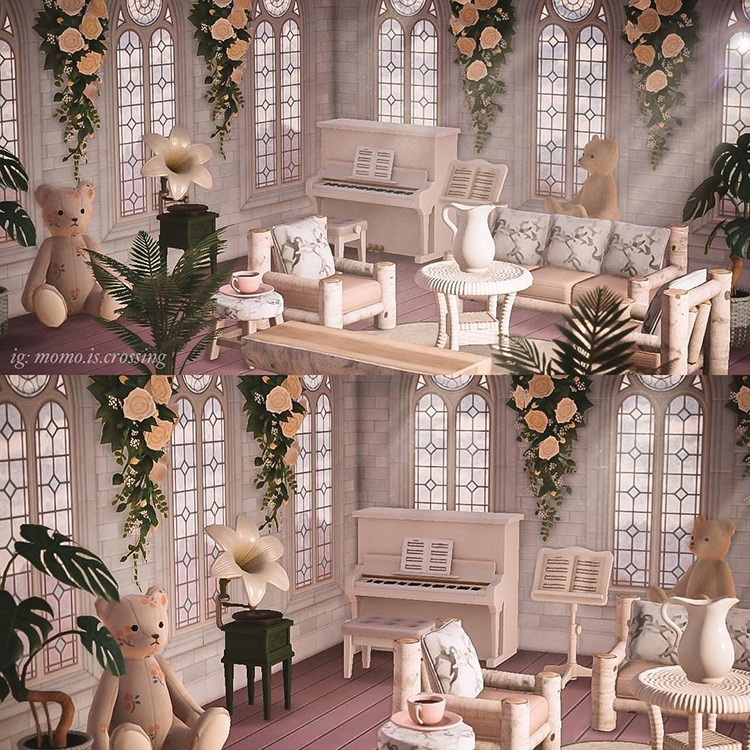 Fancy white-themed sitting room in ACNH