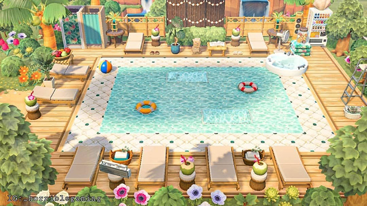 Tropical pool built into room in ACNH