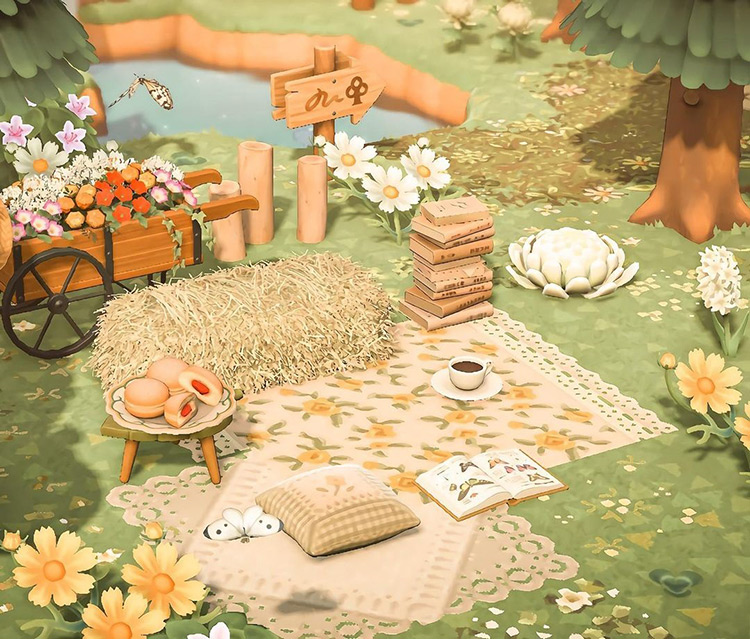 Forest reading nook in Animal Crossing: New Horizons