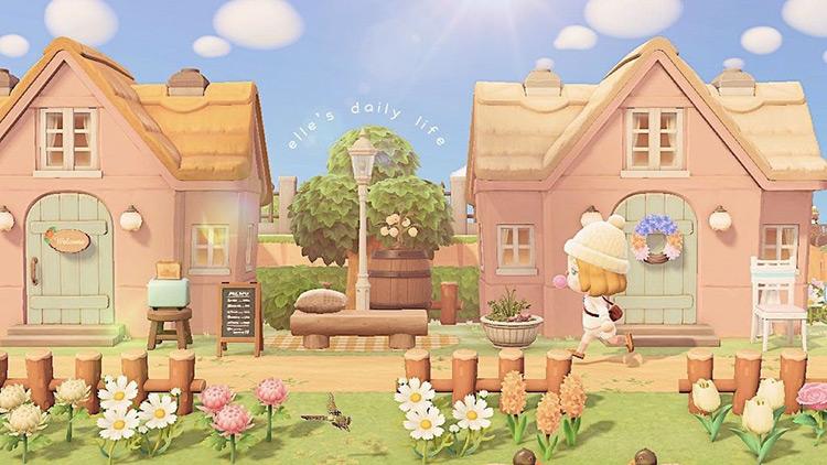 Pastel houses in a suburban neighborhood / ACNH Idea