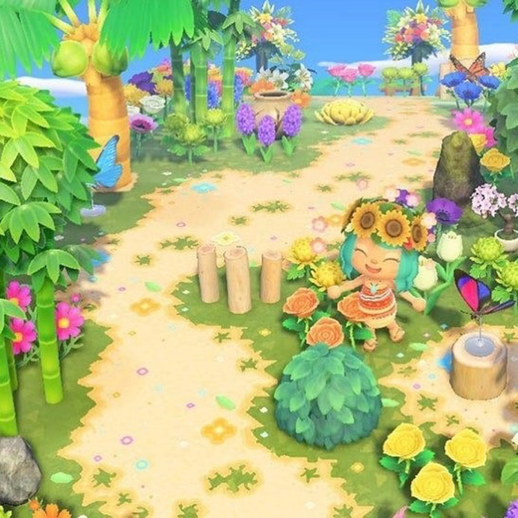 Jungle-themed pathway pattern in ACNH
