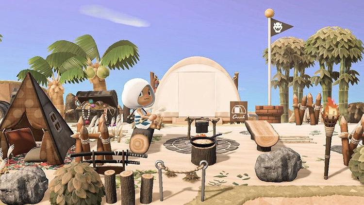 Pirate-themed campsite idea in ACNH