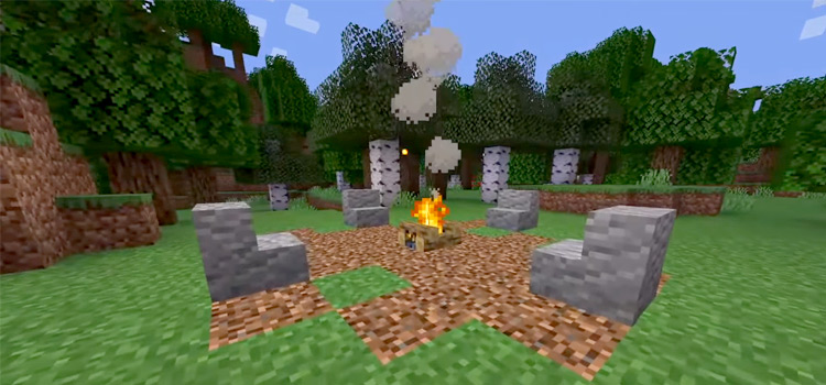Campfire in Minecraft Game Screenshot