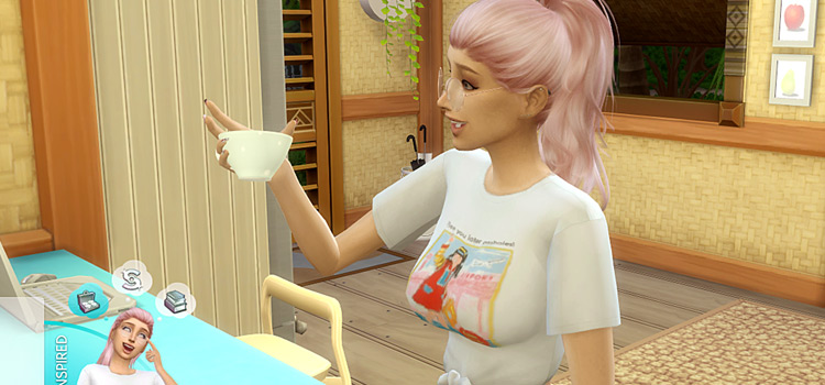 Girl Sim with pink hair drinking tea in The Sims 4