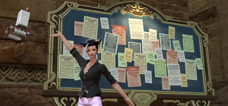 FFXIV Character in front of a Market Board