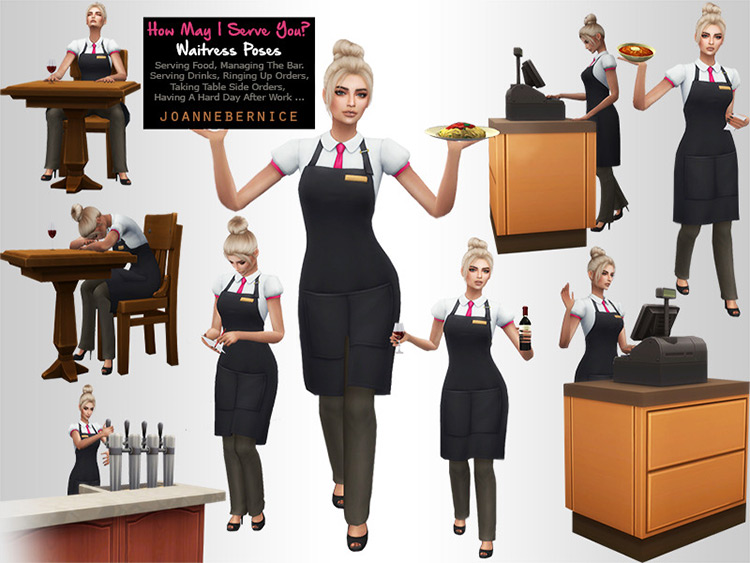 How May I Serve You? Waitress Posepack / The Sims 4