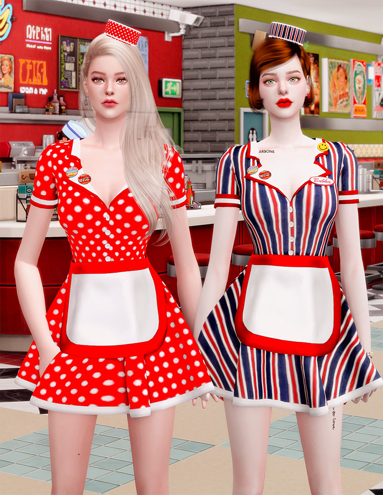 Retro Diner Waitress Outfit & Hat / TS4 CC