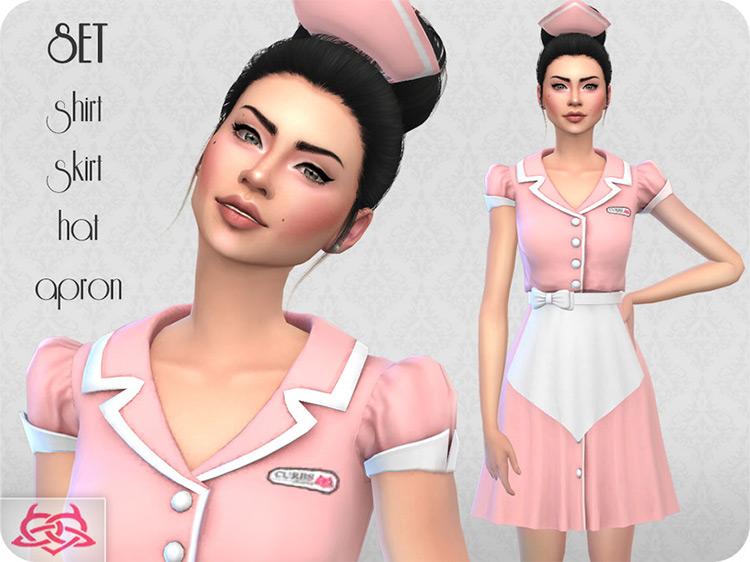 Colores Urbanos Waitress Set / Sims 4 CC