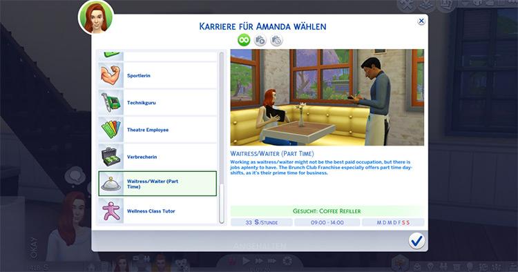 Part-Time Waiter & Waitress Career Mod Preview / TS4