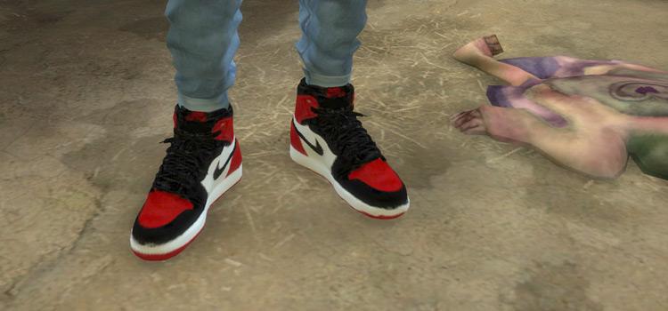 Air Jordan 1's Sneakers in Red / Sims 4 CC