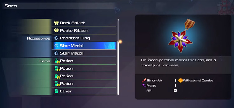 Star Medal Equipment with Withstand Combo Ability / KH3 Screenshot