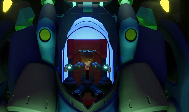 Sora getting into a Gigas Robot in KH3
