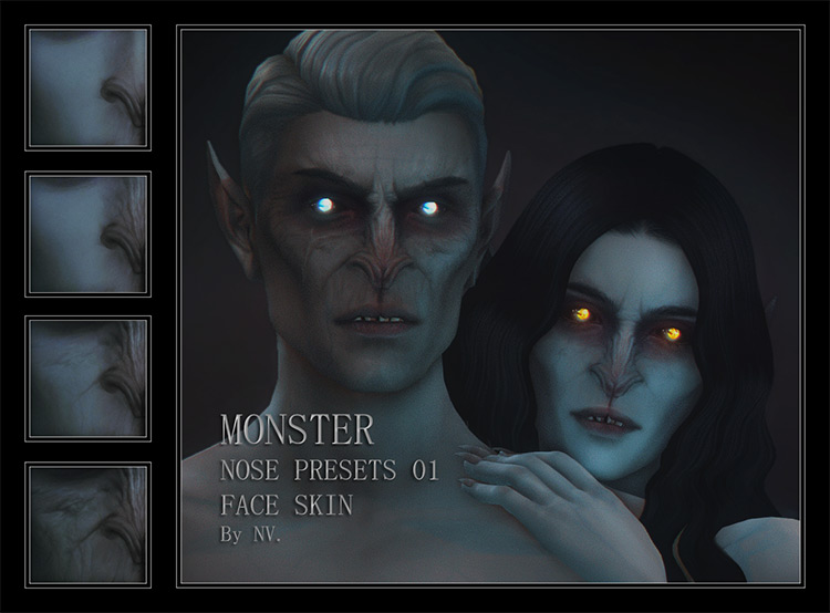 Monster Nose Presets & Skin Overlay / Sims 4 CC