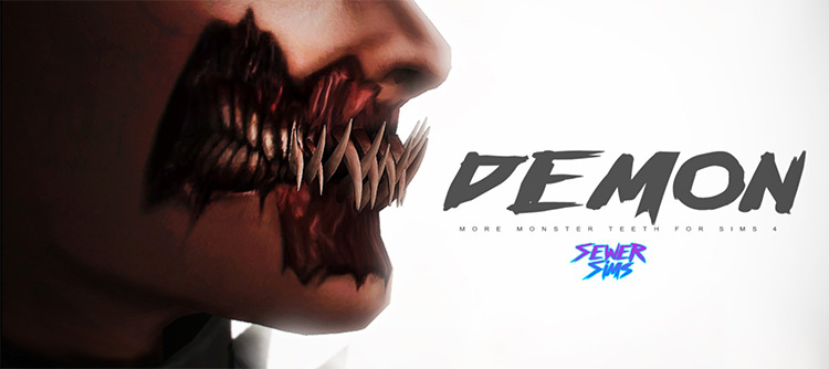 Demon Teeth + Mouth Makeup for The Sims 4