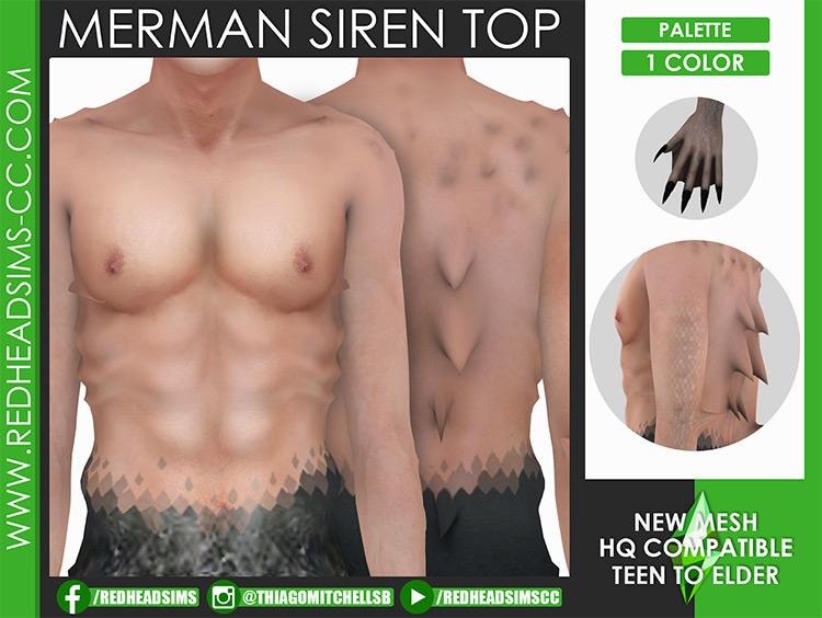 Siren Merman Top & Tail / Sims 4 CC