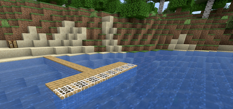 Fish Trap Pier along Water in Minecraft / Monster in the Depths Mod