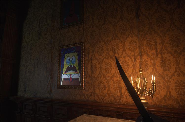SpongeBob Paintings on the walls / RE Village mod