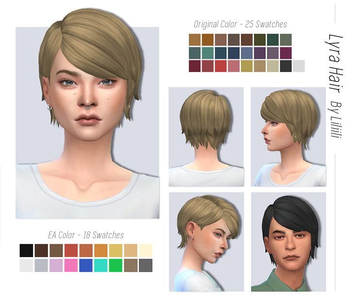 Lyra Pixie Hair for The Sims 4