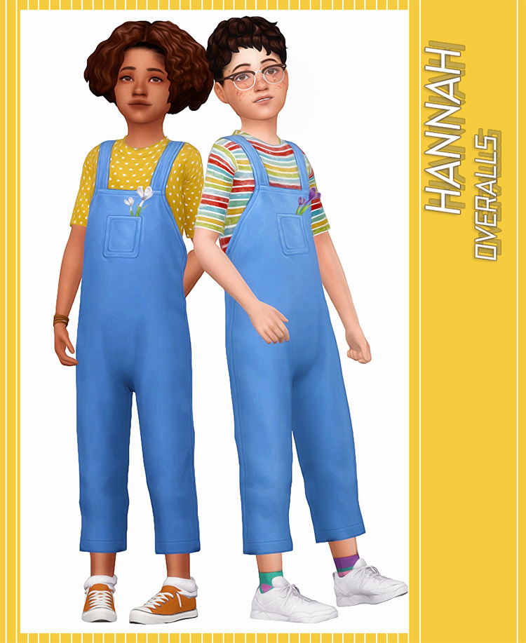 Hannah Jeans Overalls CC for The Sims 4
