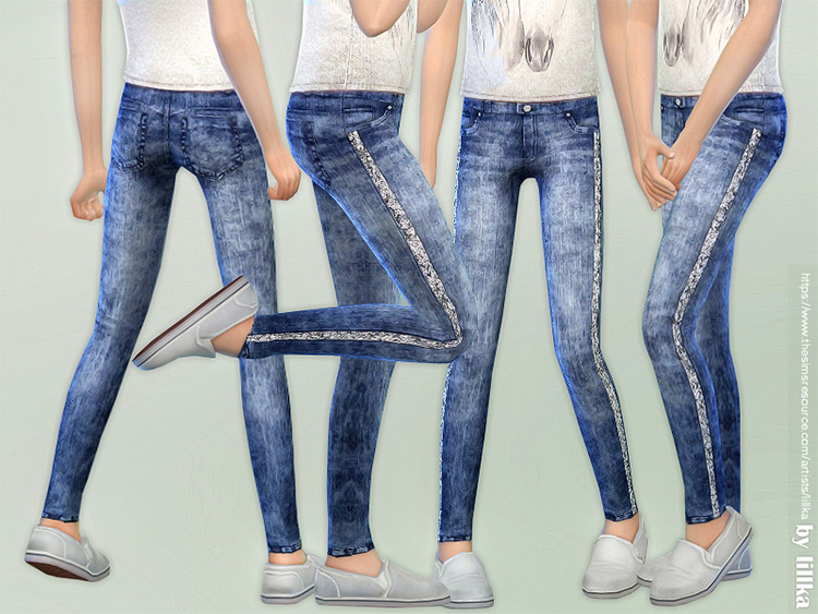 Girls Skinny Jeans with Sequins / TS4 CC