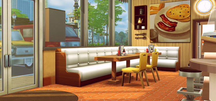 Interior Diner Booth Restaurant in The Sims 4