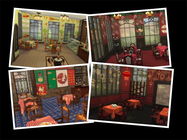 DIY Restaurant CC Set for The Sims 4