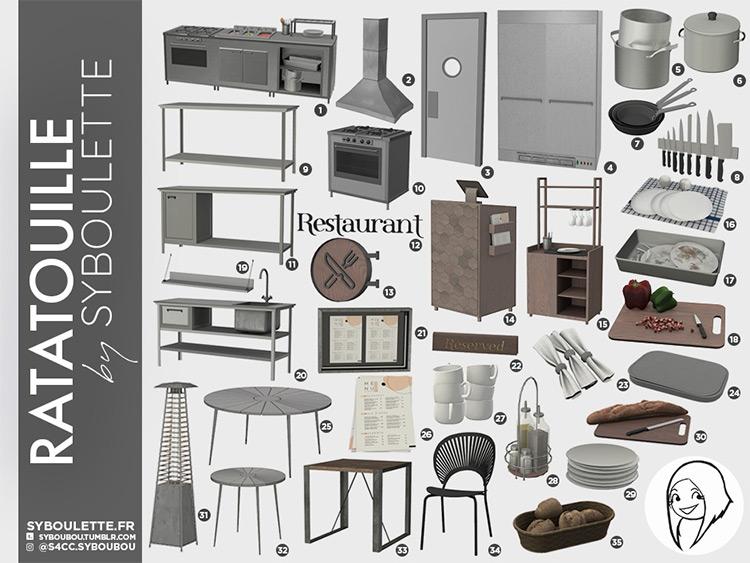 Ratatouille Restaurant CC for The Sims 4