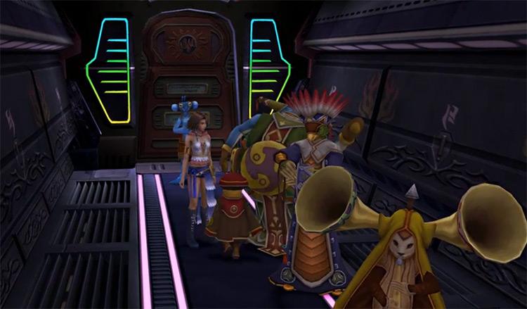 Pushing Tobli into the elevator in FFX-2