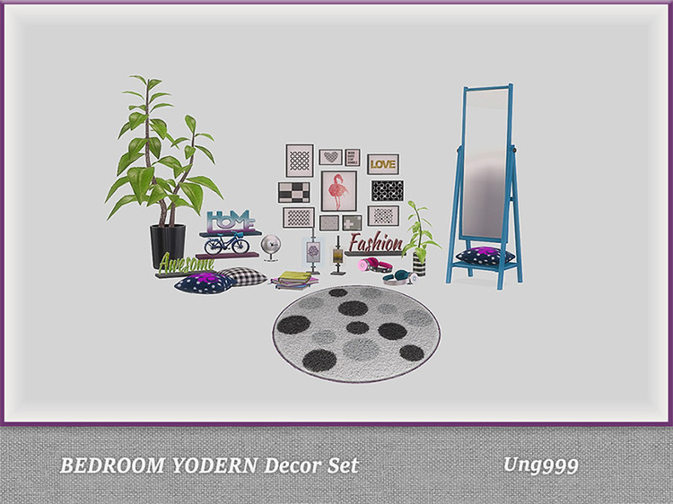 Bedroom Yodern Decor Set for The Sims 4