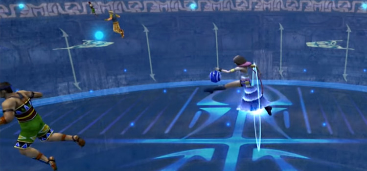 Yuna playing Blitzball in FFX-2 HD Remaster