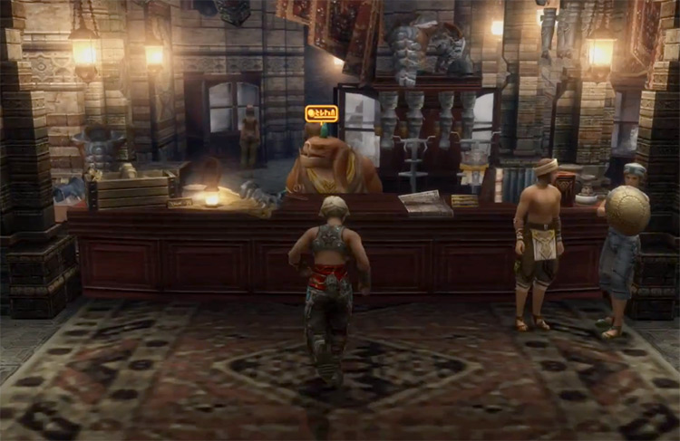 Speaking to a shop clerk for Scholar's Monograph / FFXII TZA