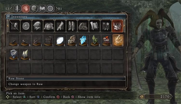 Raw Stone Infusion Menu / DS2 Screenshot