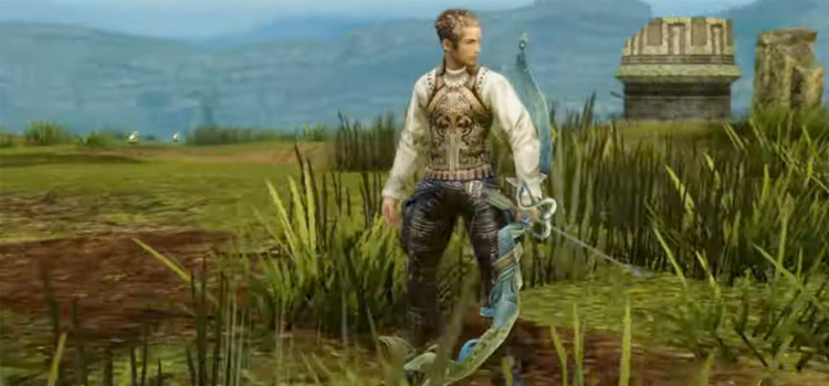 Balthier holding a bow in Final Fantasy XII: TZA