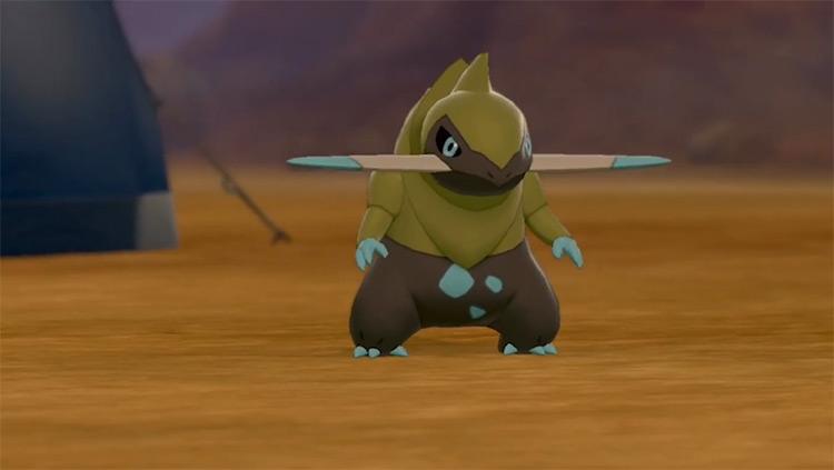 Shiny Fraxure Pokémon camp SWSH