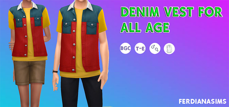 Denim Vest CC for The Sims 4