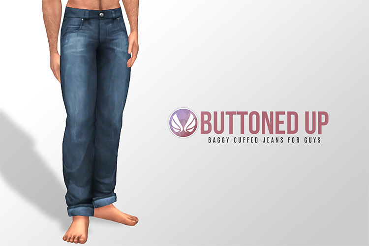 Baggy Cuffed Jeans for Guys / Sims 4 CC