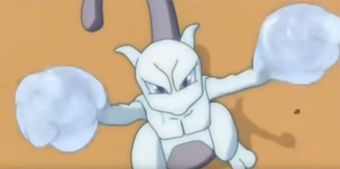 Mewtwo from the anime, gen 1 legendary