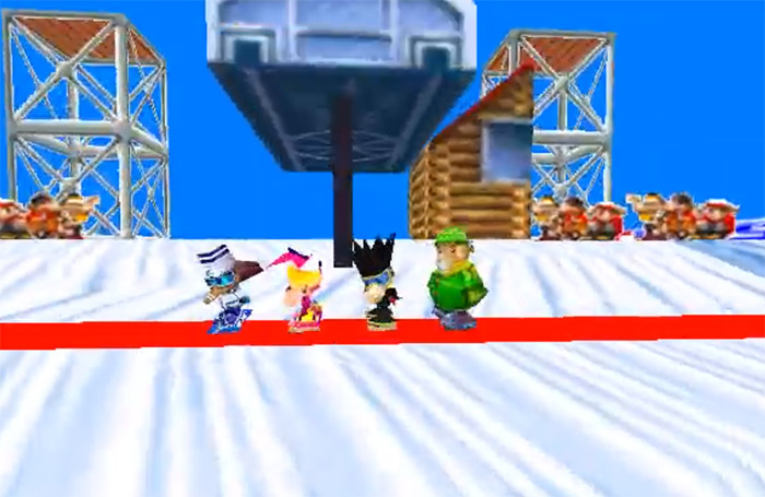 Snowboard Kids gameplay screens